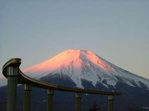 中庭からみる紅富士