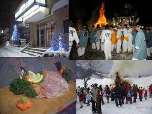 左下の写真が、別注の岩魚の板盛りです。右上は御神火祭、右下の写真は片品スキー場でのドンドン焼き^^