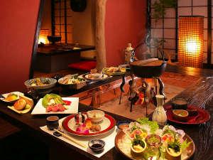 【囲炉裏料理】出来立てのアツアツを頂く醍醐味をお楽しみください。