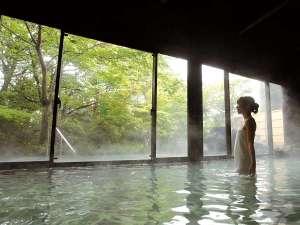 桜島の溶岩を使った『霧乃溶岩露天風呂』併設の内湯。原泉蒸湯も御座います。