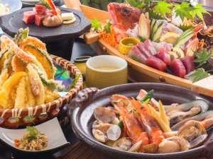 新鮮魚介もお肉もたっぷりな宝漁会席[一例]たっぷり食べてスタミナ充電!