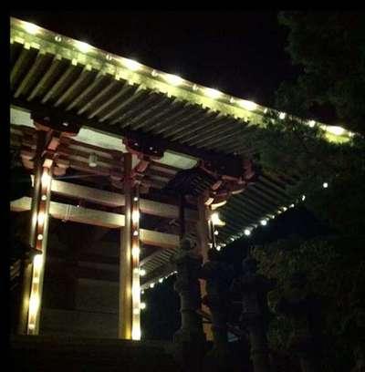 電飾で光り輝くお寺☆裏山にある...