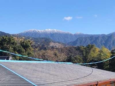 桜島 初 冠 雪