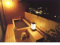 露天風呂付き客室「姫百合の間」桧、御影石の客室露天/坪庭付)