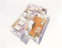 全客室ベッドルーム2室とリビングのスイートルーム仕様