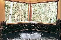 森林を眺めながら浸かる露天風岩風呂は開放感いっぱい