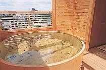 天気の良い日には大山が望める貸切露天風呂「うさぎのワルツ」