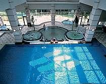 バーでゾーンには多種多様な浴槽あり 温水プールもあり