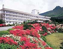 満開のツツジが鮮やかなホテルの庭園