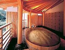 樽型露天風呂 槙木で組まれたお風呂