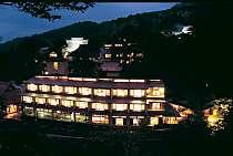 山腹に灯りが輝く新旅籠の新館せせらぎ館を対岸から