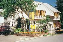 [写真]七ッ森に建つパルは白に黄色の窓枠で会津観光の中心地