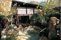 「とち湯」の露天風呂から山並みを眺める