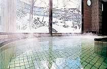 雪化粧した庭を眺めながらゆったりお風呂