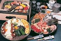 ボリューム満点、磯の香焼き 潮風薫るテラスでどうぞお米や野菜は自家裁培