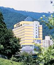 越後湯沢温泉でひときわ目をひく黄色いホテル。遠くからでも良く見えます!