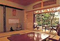 庭園の眺めも良い広めの和室(客室一例)。トランプ等を持参してお部屋でレトロゲームに興じるのも良いね