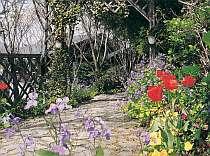 季節の花々に囲まれた静かな宿