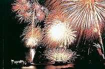 黒船祭の花火大会。お部屋から見ることができます