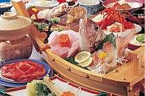 伊勢海老&和牛の舟盛り付料理