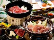 自家肥育の奥飛騨シャモ鍋&A5等級飛騨牛のすき焼(一例)
