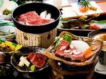 《お日にち限定★飛騨ブランド三昧》は飛騨牛すき焼き&ステーキをメインにその日の旬が楽しめます(一例)