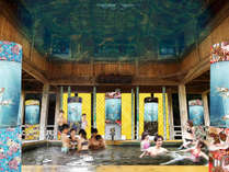 【7/28~9/30】大江戸温泉金魚物語、話題のアクアリウムが水着露天風呂に登場!