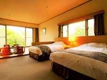 【本館:水月の庄/和洋室46平米】ツインベッド2台+7.5畳和室。