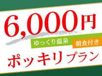 2名時おひとり様6,000円(税別)ポッキリ 朝食付プラン