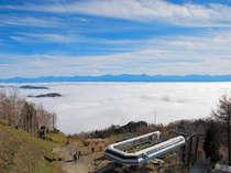 ヘブンス展望台1600メートルからの雲海。遠く南アルプスが島のように見えます♪