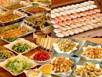 【信州グルメバイキング】信州の食材を使った、多彩なお料理が並びます。写真は一例です。
