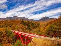 *八ヶ岳高原ラインに架かる東沢大橋では、秋の八ヶ岳を一望できます。