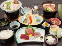 *【ご夕食一例】当館のスタンダード料理です。三崎の新鮮な味覚に舌鼓を!