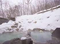 八右衛門の湯【露天風呂(冬)】乳白色のにごり湯と雪見露天風呂♪