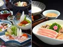 【ご夕食一例】メインが選べる鍋プラン/海鮮しゃぶ(左)・樹氷鍋(右)※イメージ