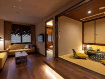 【eph KANAZAWA スーペリア・スイート】金沢のモチーフを散りばめた落ち着いた空間。