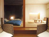 ひのき風呂付和室一例。自然素材「和」の空間を演出。