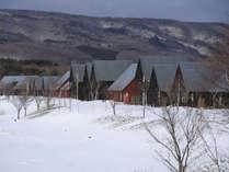 【レイクサイドヴィラ(冬外観)】雪の中にコテージが立ち並ぶ様は外国を思わせます
