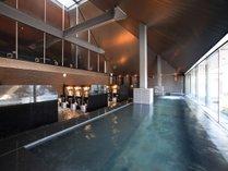 【彩光の湯】羽鳥湖温泉の源泉から生まれる天然温泉施設。pH9.8の強アリカリ性をもつ美肌の湯。