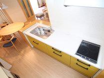 【貸別荘コテージFタイプ】調理器具や食器も用意があるキッチン