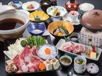 【山膳PLAN(春)】地元ブランドW肉を楽しむ♪「山形牛すき焼き」「あつみ産桜美豚の陶板焼き」