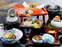 ≪基本料理≫9.10月 秋の一例_メインは木野子彩々包み蒸し。県産牛か天然真鯛をお選び頂けます。