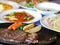 ディナーコース一例 お肉料理はもちろん名物のステーキ♪