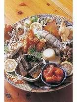 べふ峡のふるさと皿鉢料理一例