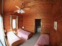 コテージEタイプはトリプルのお部屋が二つで最大6名さままでご宿泊できます!