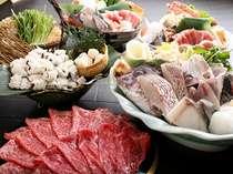 鍋くらべ(ちゃんこ・すき焼き・よせ鍋・牛しゃぶ・魚ちり)(一例)