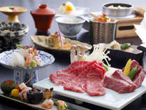 神戸牛と三田牛の食べ比べ会席。(一例)
