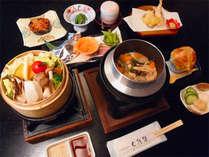 地元産八種野菜のせいろ蒸し×山菜釜飯プラン(夕食一例)