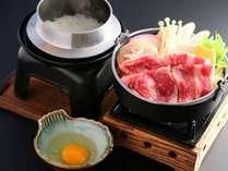 上州牛すき焼き×地元白米を釜炊き(夕食メイン一例)