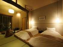 離れ風客室 みなと庵 和ベットツイン+6畳+露天風呂付き 一例